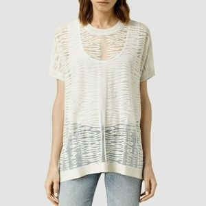 All Saints Shor Knit Sheer Mesh Tee in Ivory